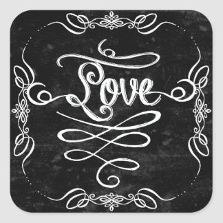 Chalkboard Style Rustic Swirl Couples Shower Card Square Sticker