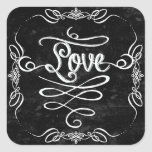 Chalkboard Style Rustic Swirl Couples Shower Card Square Stickers