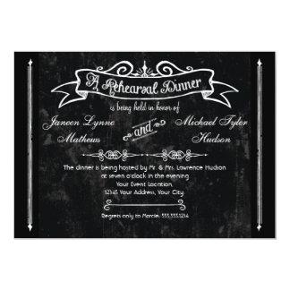 Chalkboard Style Rustic Swirl Rehearsal Dinner 5x7 Paper Invitation Card