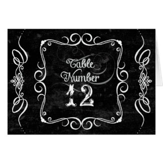 Chalkboard Style Rustic Swirl Table Number Cards