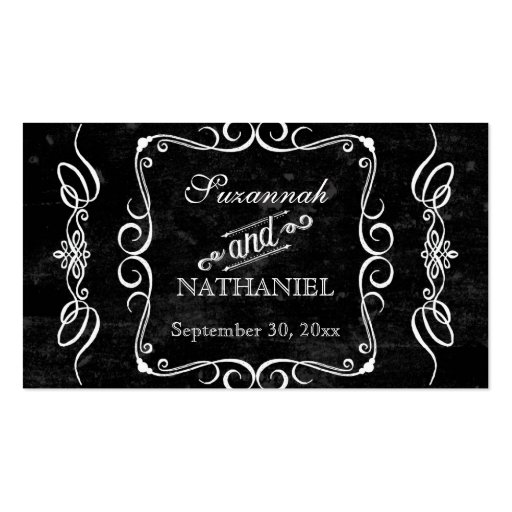 Chalkboard Style Rustic Swirl Table Seating Cards Business Card Template