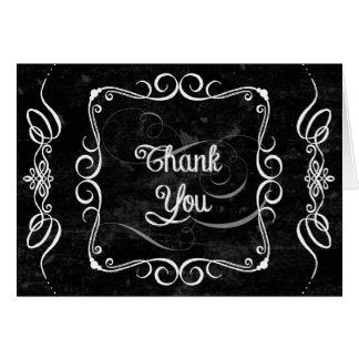Chalkboard Style Rustic Swirl Thank You Note Cards