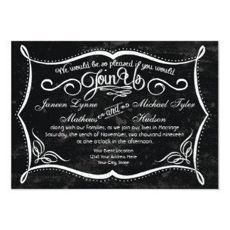 Chalkboard Style Rustic Swirl Typographic Invites
