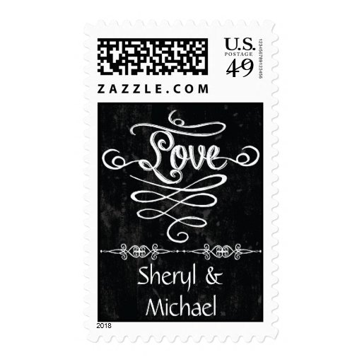 Chalkboard Style Rustic Swirl Wedding Love Engaged Stamps