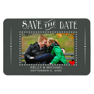 Chalkboard style save the date magnet
