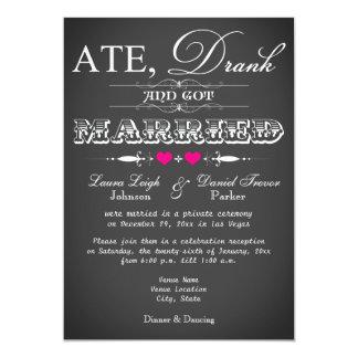 Chalkboard Style Wedding Reception Only Invite