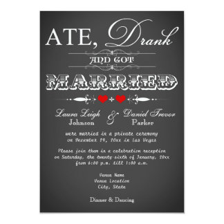 Chalkboard Style Wedding Reception Only Invite