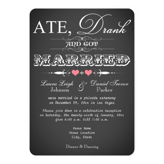 chalkboard style wedding reception only invite zazzle com