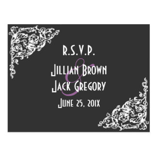 Chalkboard Style Wedding RSVP Post Cards