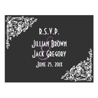 Chalkboard Style Wedding RSVP Postcard