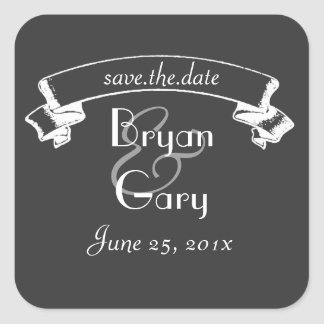 Chalkboard Style WEDDING Save The Date Square Sticker