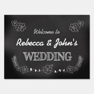 Chalkboard Style Wedding Welcome Yard Sign