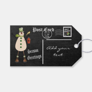 Chalkboard Styled Snowman Postcard | Christmas Gift Tags