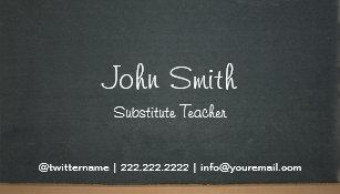 Substitute teacher business cards templates zazzle chalkboard substitute teacher simple business card colourmoves