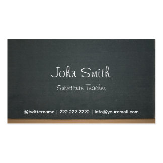 Chalkboard Substitute Teacher Simple Double-Sided Standard Business Cards (Pack Of 100)