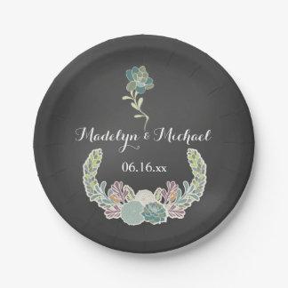Chalkboard Succulents Custom Wedding Paper Plates