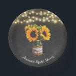 "Chalkboard Sunflower Mason Jar Bridal Shower Paper Plate<br><div class=""desc"">Chalkboard Sunflower Mason Jar Bridal Shower Party Plates - features a printed chalkboard background with string lights and a mason jar filled with sunflowers that&#39;s decorated with burlap and lace.  See the full collection in this design below.</div>"