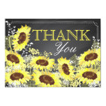 Chalkboard Sunflower Rustic Modern Thank You Card