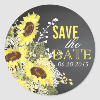 Chalkboard Sunflower Rustic Save the Date Label
