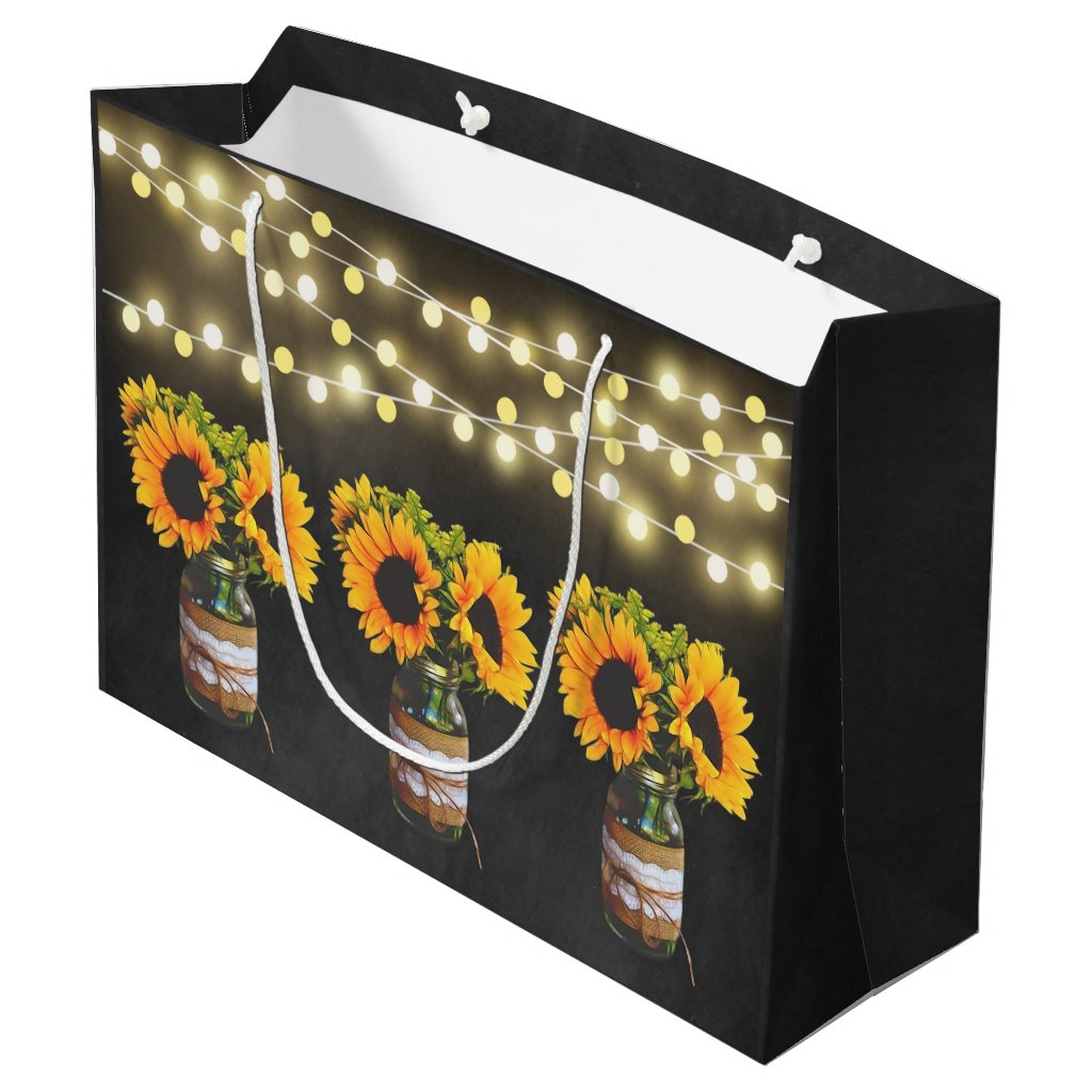 Chalkboard Sunflower Rustic String Lights Gift Bag