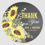 "Chalkboard Sunflower Rustic Thank You Label<br><div class=""desc"">Chalkboard and sunflower bouquet rustic wedding thank you label.</div>"