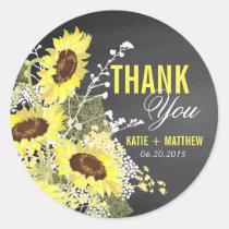Chalkboard Sunflower Rustic Thank You Label