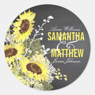 Chalkboard Sunflower Rustic Wedding Gift Label Classic Round Sticker