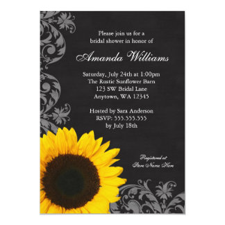 Chalkboard Sunflower Swirls Bridal Shower Card