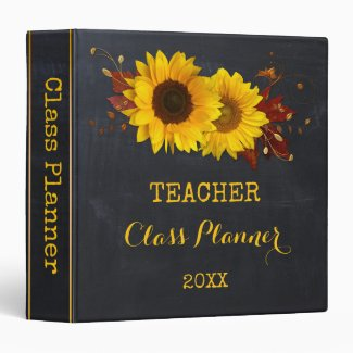 Chalkboard Sunflower Teacher Class Planner Binder