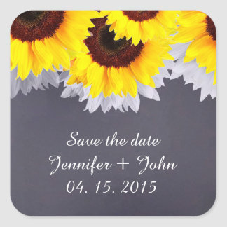 Chalkboard sunflower wedding tags sunflwr2 square sticker