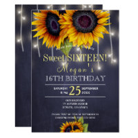 Chalkboard sunflowers chic rustic sweet sixteen invitation