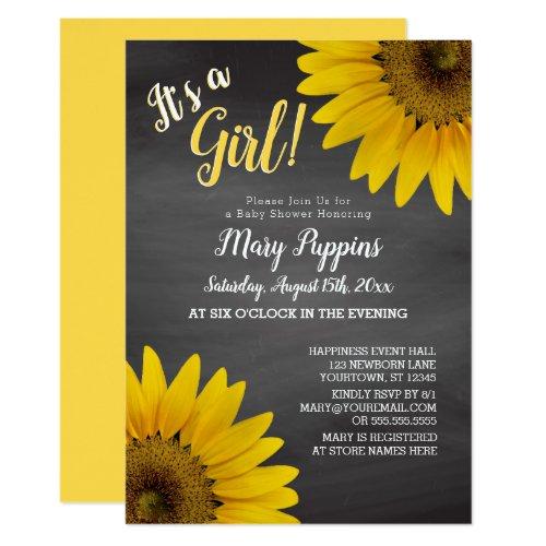 Chalkboard Sunflowers Garden Girl Baby Shower Invitation