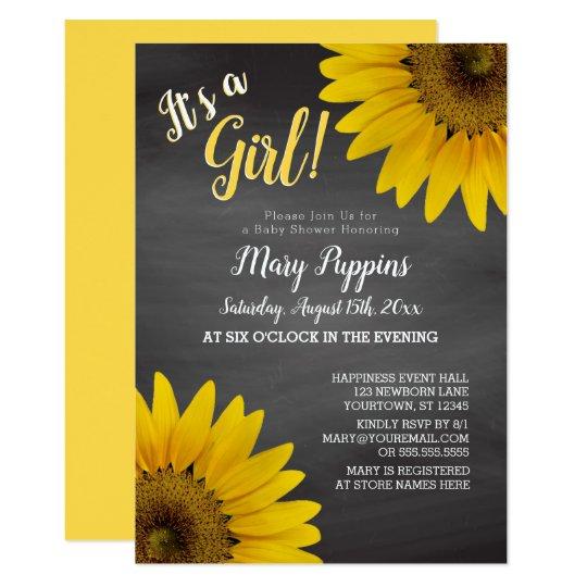 17734f15f3afb Chalkboard Sunflowers Garden Girl Baby Shower Invitation