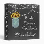 Chalkboard Sunflowers in Mason Jar Recipe Folder 3 Ring Binder