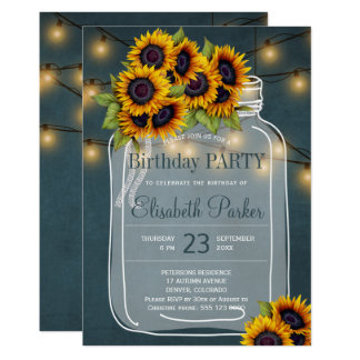 Chalkboard sunflowers mason jar birthday party card