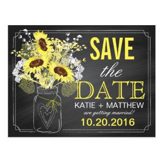 Chalkboard Sunflowers Modern Rustic Save the Date Postcard