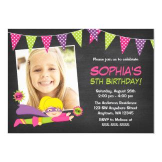 Chalkboard Superhero Girl Photo Birthday Party Card
