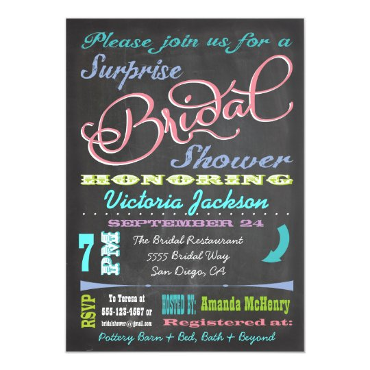 chalkboard surprise bridal shower invitations