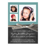 Chalkboard Sweet 16 with 3 Photos 4.5x6.25 Paper Invitation Card