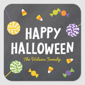 Chalkboard Sweet Candy Treats Happy Halloween Square Sticker