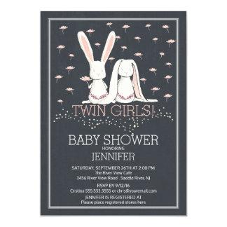 Chalkboard Sweet TWIN Girls Bunny Baby Shower Card