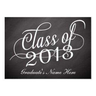 Chalkboard Swirl Class of 2013 5x7 Paper Invitation Card