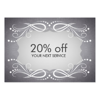 Chalkboard Swirl Coupon Card Voucher Discount Large Business Cards (Pack Of 100)