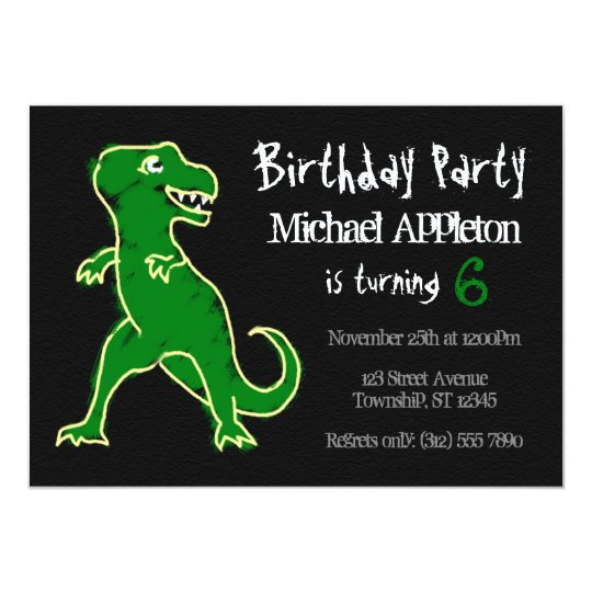 Chalkboard T Rex Dinosaur Birthday Invitations
