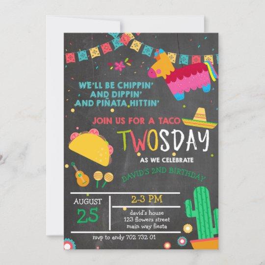 Chalkboard Taco Twosday Pinata Fiesta 2nd Birthday Invitation