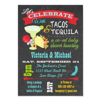 Chalkboard Tacos and Tequila Co-ed Baby Shower Card