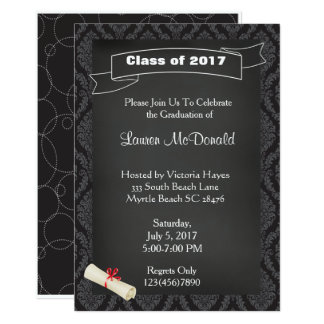 Chalkboard Teacher Graduation Invitation