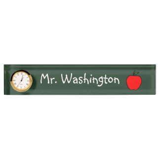 Chalkboard Teacher's Clock Desk Nameplate Gift