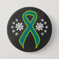 Chalkboard Teal and Lime Green Ribbon Button