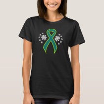 Chalkboard Teal and Lime Green Ribbon T-Shirt